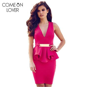 Comeonlover Hot Peplum Solid Robe Femme Ete 2017 Party Casual Office Woman Plus size Deep V-Neck Bodycon Vintage Dress RE70066
