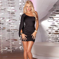 Fashion Large Size Female Solid Color Oblique Shoulder Ruffle Long Sleeve Pack hip Tight Mini Dress