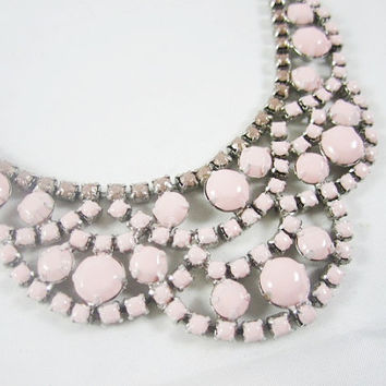 The Erin Necklace - Hand Painted Vintage 1950s Pale Pink Rhinestone Necklace b58cf0337655