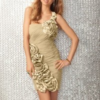 Champagne Sheath Short One Shoulder Dress [1466146] - $91.00 : dressoutletstore.co.uk, Wedding Dresses Outlet
