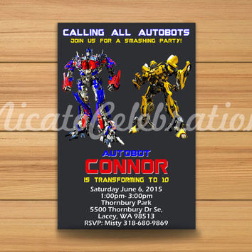 Transformers Inspired Design Invitation - Digital File