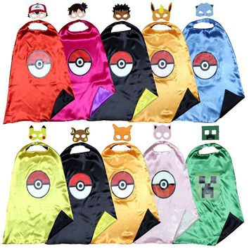 pokemon cape +mask ash costume pikachu costume  kids cape Pokemon GO costume party Favors holloween cosplay  birthday costume