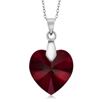 Nirano Collection Siam Red Heart Pendant Created with Swarovski® Crystals
