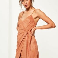 Missguided - Orange Faux Suede Wrap Tie Shift Dress