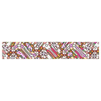 """Dawid Roc """"Camouflage Pattern 3"""" Pink Yellow Table Runner"""
