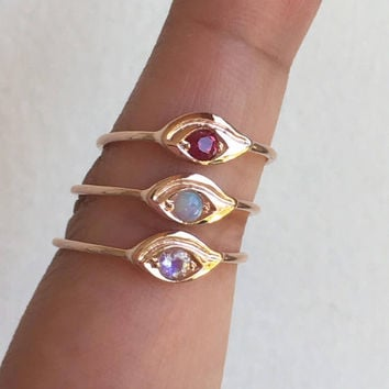 Evil Eye Birthstone Ring, Evil Eye Ring, Evil Eye, Eye of Horus, Third Eye, Gold Evil Eye, Eye Ring, Birthstone Ring, Birthstone Jewelry,Eye