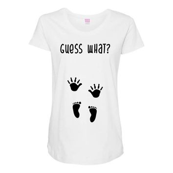 Guess What Baby Inside Pregnancy Announcement Maternity Scoop Neck T-shirt