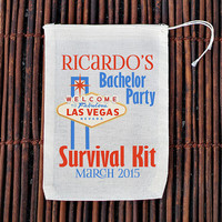 Bachelor Party Las Vegas Survival Kit Welcome Bag- Muslin Cotton Mini Favor Bags