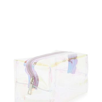Clear Iridescent Makeup Bag