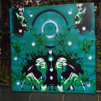 painting in green of afro women,garden of eden,stencils & spraypaints on 30 by 30 inch canvas,growth,wall art,spring,life,plants
