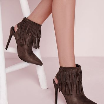 Missguided - Fringe Detail Heeled Ankle Boots Grey