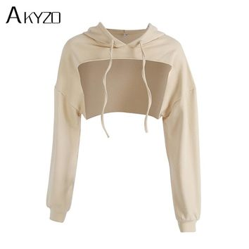AKYZO 2017 Autumn Loose Cropped Hoodies Women Front Cut Out Sweatshirts Khaki Long Sleeve Pullovers Hoodie High Quality Tops