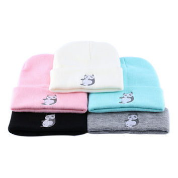 1PC Hip-Hop Warm Winter Unisex Men Women Lady Panda Wool Beanie Hat Crochet Knitted Ski Cap Skull Cuff