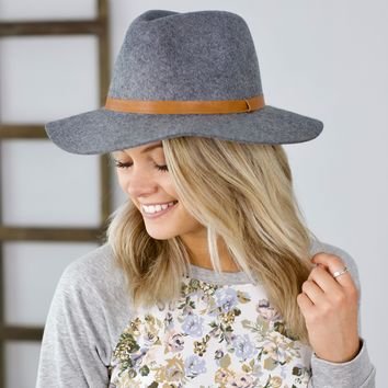 Grace & Lace Wool Felt Fedora Hat with Leather Trim