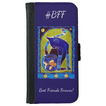 Bff Best Friends Forever Whimsy Cat Wallet Phone Case For iPhone 6/6s