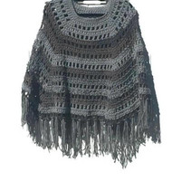 Shades Of Gray Crochet Poncho Shawl PDF Pattern Is not a finished product. It is a PDF Pattern with instructions to do it yourself.