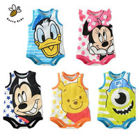 Newborn Baby Clothes Cute Cartoon Baby Rompers Sleeveless One-piece jumpsuit Baby Girl Romper Infant Clothing Baby Costumes