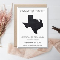 Chalkboard Texas Save the Date Template, Texas State Map Wedding Save the Date Printable Editable PDF Template Download, DIY You Print by DIYprintable