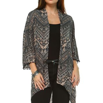 Women's Printed Open Front Cardigan
