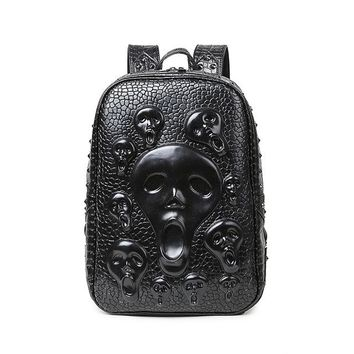 Cool Backpack school Men Skull Backpack Fashion Young Man PU Leather Rivet Bags 2017 Alien Halloween Bags Cool Big Backpack Hot Sale AT_52_3