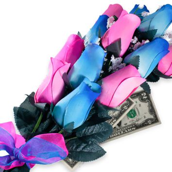 Baby Blue & Pink Bouquet | Cash Roses®