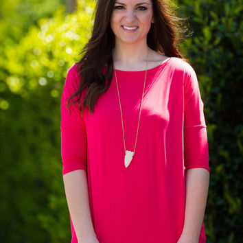 The Perfect Piko 3/4 Sleeve Top-Watermelon