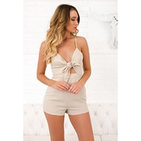 Easy As Can Be Tie Front Romper (Jute)