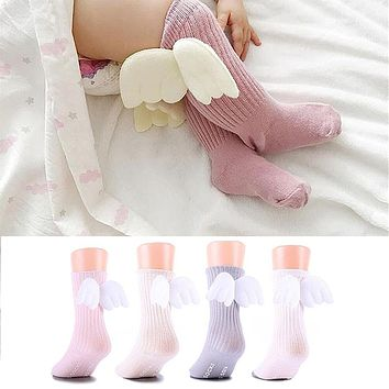 0-4Y Cotton Baby Cute Knee High Socks 3D Angel Wings Kids Toddler Candy Color  Soft Sock Children Leg Warmers