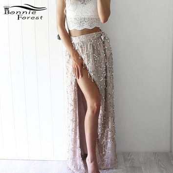 Sexy Side Slit Tassel Sequin Maxi Long Skirt Summer Glitter Women Elegant Beach Skirts Party Mesh Boho Maxi Skirts