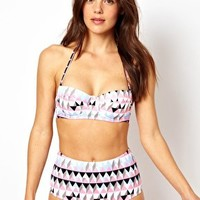 ASOS Underwired Fuller Bust Pastel Graphic Print Bikini Top D-F at asos.com