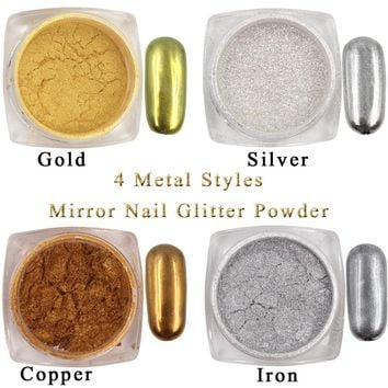 1g/Box Gold Sliver Nail Glitter Powder Shinning Mirror Eye Shadow Makeup Powder Dust Nail Art DIY Chrome Pigment Glitters