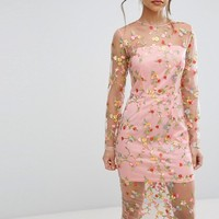 PrettyLittleThing Embroidered Sheer Midi Dress at asos.com