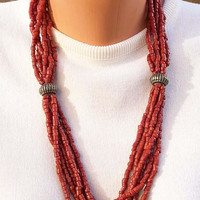 Faux Coral Bead Necklace - Boho - Silver Tone Accent Beads Vintage - Southwestern Look
