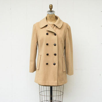 VINTAGE 1960s Classic Tan Wool Peacoat | Double Breasted Overcoat | Tailored Long Coat | Minimal Wool Coat | Womens Winter Coat