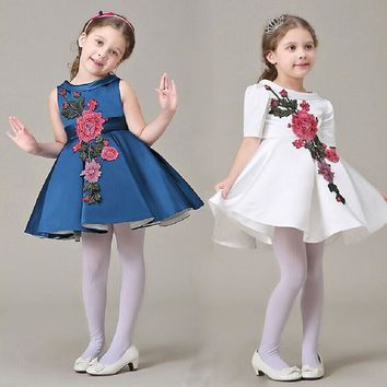 Girl Dress With Flower Embroidery Sleeveless Party Dresses Girl Summer Princess Dresses Baby Girl Party Dresses L-77