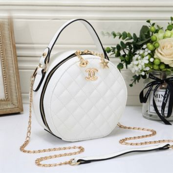 Women Fashion Leather Round Chain Crossbody Shoulder Bag