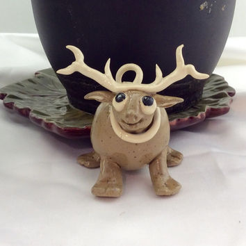Reindeer Christmas tree ornament, small reindeer sculpture, hand made, humorous gift, gift wrapping decoration.