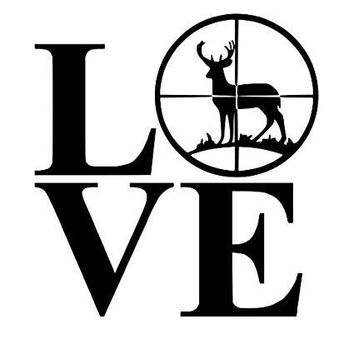 Love Deer Bullseye  Vinyl Car Laptop Window Wall Decal