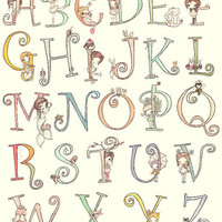 Alphabet Art Print---Letters-Cute Animals And Girls