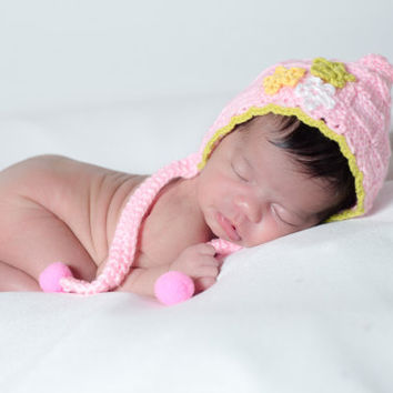 Knit baby cap, winter baby hat, pink newborn hat, bonnet photo prop, yarn baby hat, baby lace hat, textured baby hat, pompom baby hat