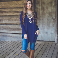 Relaxed Long Sleeve Tunic in Navy