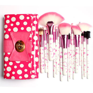 18Pcs Makeup Brushes & Tools, in gorgeous bow-Knot Polka Dot Pink Bag Big Deal!