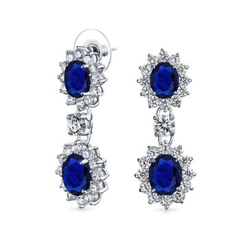 Blue Oval CZ Statement Dangle Earrings Sapphire Silver Plated