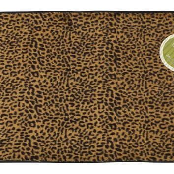 Leopard Skinned Faux Fur Bath Mat