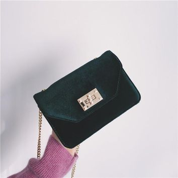 Ins blogger Anine Bing Handbag Velour Women shoulder bag Purse Chain bag Quilted Bag Female Designer Envelope Day Clutch 2017AW