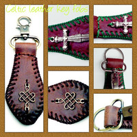Brown Leather Irish Celtic Key Fob