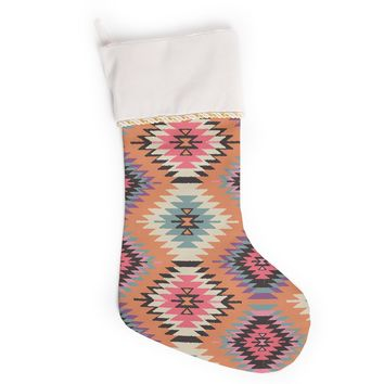 "Amanda Lane ""Southwestern Dreams"" Orange Pink Christmas Stocking"