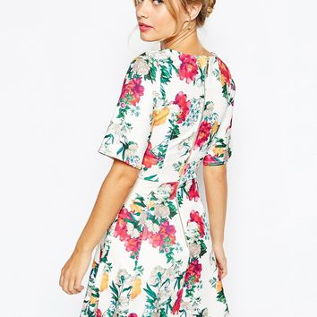 Closet Skater Dress In All Over Floral Print