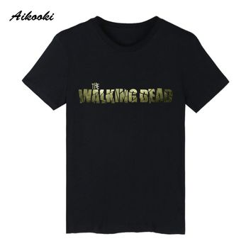 The Walking Dead Zombies Summer Cotton T-shirt Short Sleeve T Shirts Summer Funny Young People college Couples Tee Shirts