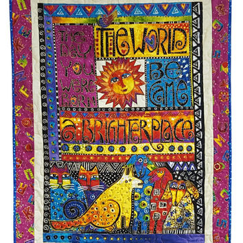 Laurel Burch Baby Quilt for Wall or Cuddle in Laurel Land  The Day You were Born